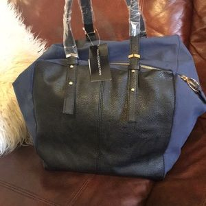 French Connection Leather & Suede Blue Black purse